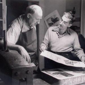 JEAN CHARLOT Unknown Photographer: Jean Charlot with Lynton Kistler in Studio