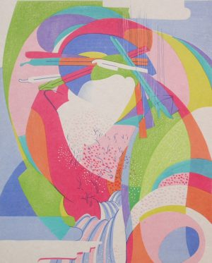 STANTON MACDONALD-WRIGHT Haiga #8-Departing Spring Hesitates in the late cherry blossoms