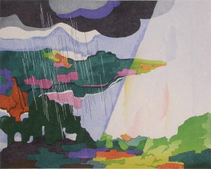 STANTON MACDONALD-WRIGHT Haiga #9-Sunbeams slant on the riverbank and the cold rain falls from a floating cloud