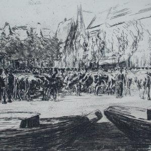 MAX LIEBERMANN Rindermarkt in Leiden (Cattle Market in Leiden)