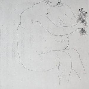 LEONARD BASKIN Hepaistos (Nude Man Holding Flowers)